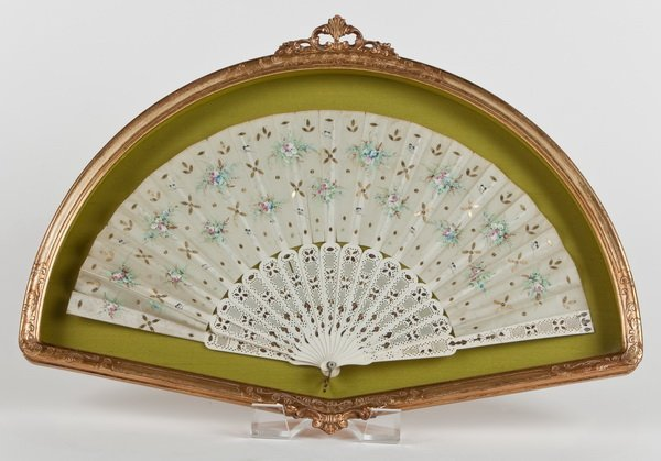 23: 19th c. hand painted ivory and silk fan