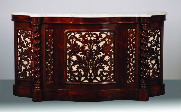 24: 19th c. rosewood marble top commode