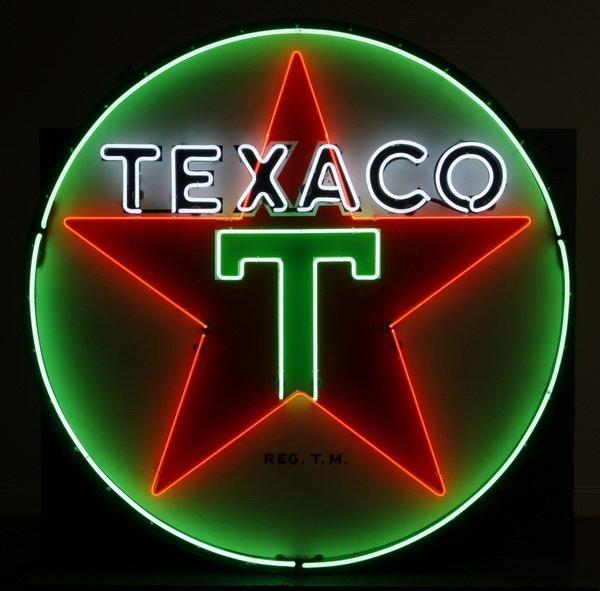 "151: Monumental Texaco neon sign, 72"" diam."