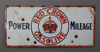 600 Rare Red Crown Gasoline porcelain sign 60w