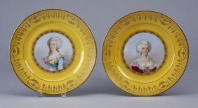 (2) 19th c. hand painted Sevres plates