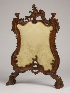"19th C. Venetian Rococo Fire Screen, 52""h"