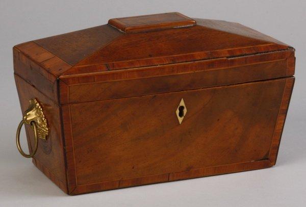 19th c. English inlaid walnut tea caddy
