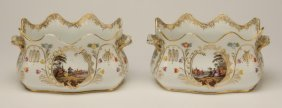 (2) 19th c. hand painted cachepots