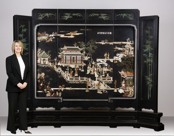 Rare 19th c. Chinese 2-sided hardstone screen