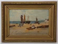 19th c Continental oil on canvas signed