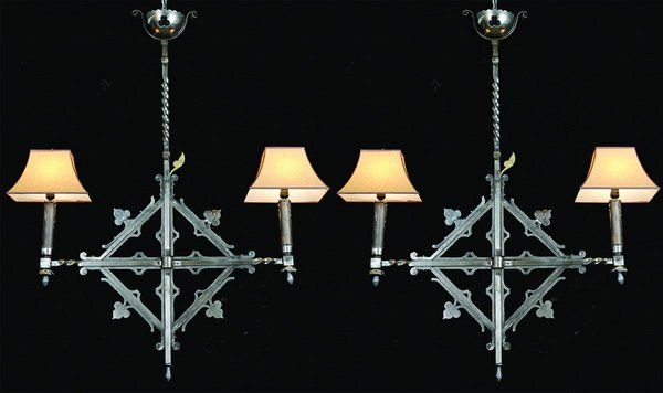 (2) 19th c. French wrought iron chandeliers