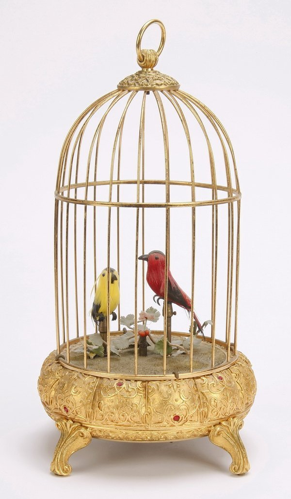 Mid 20th c. Swiss bronze birdcage music box