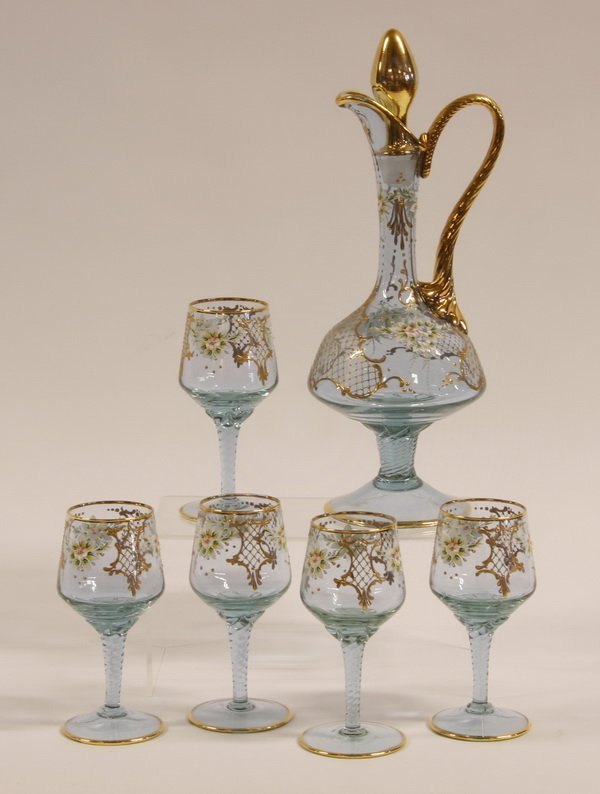 (6) pc. Moser-style decanter set