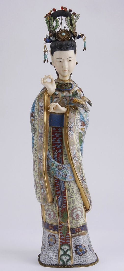 "19th c. cloisonne' and ivory sculpture, 21""h"