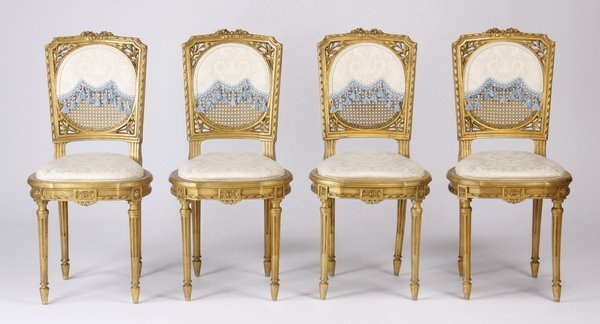 (4) Louis XVI style gilt wood and cane chairs
