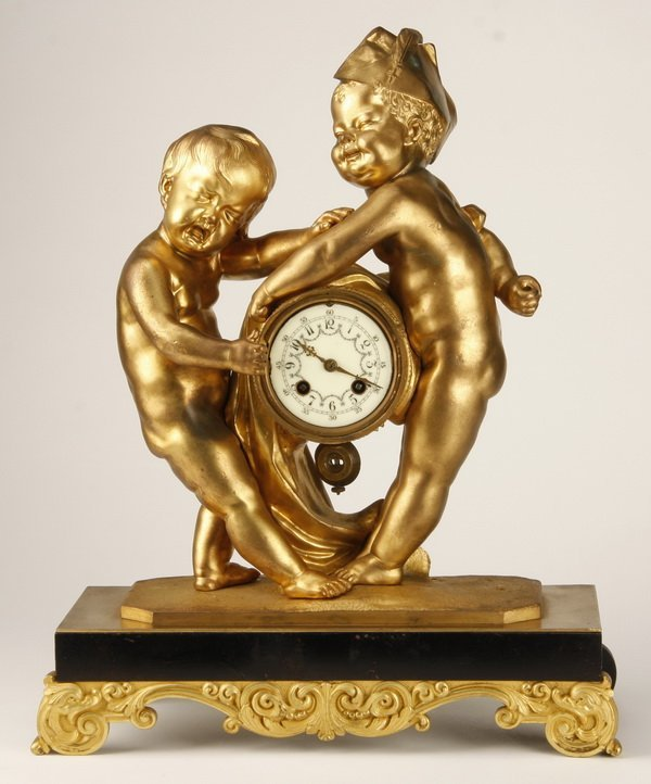 19th c. French dore' bronze figural clock
