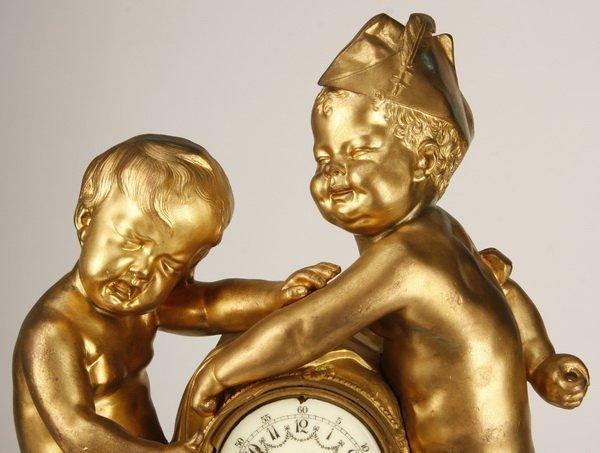 19th c. French dore' bronze figural clock - 2