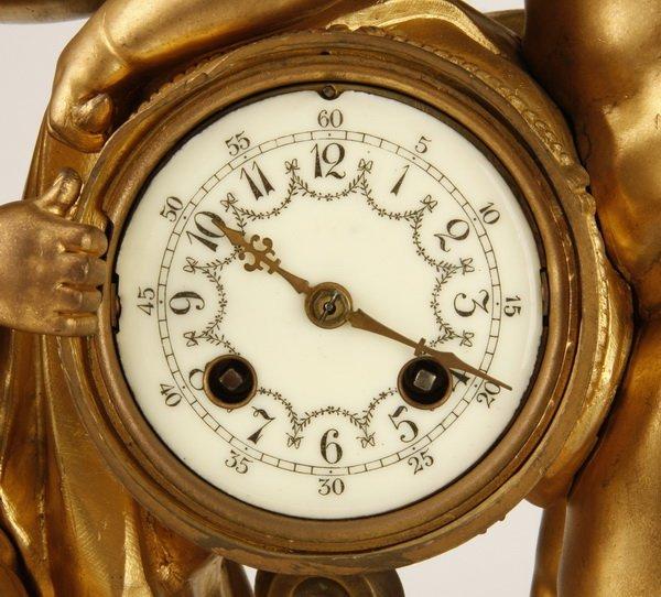 19th c. French dore' bronze figural clock - 3