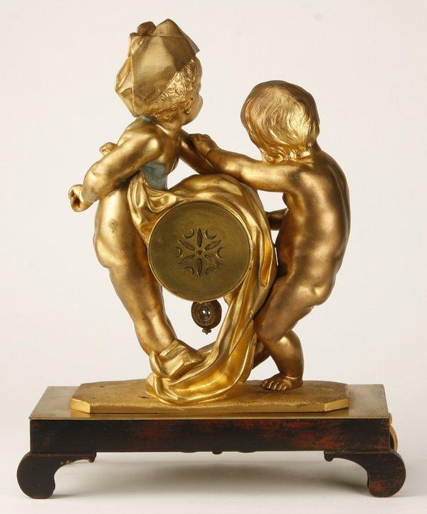 19th c. French dore' bronze figural clock - 4