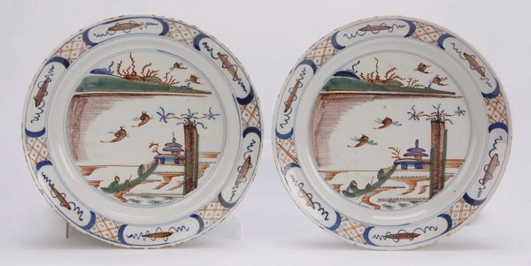 (2) 18th c. hand painted Delft chargers
