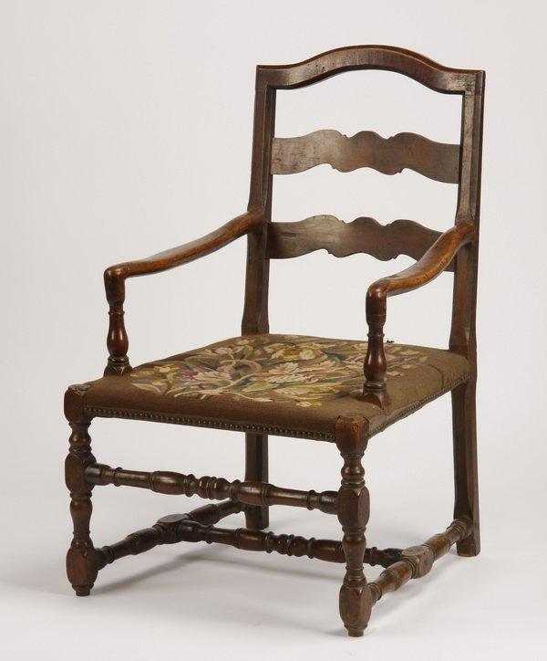19th c. English walnut ladder back chair