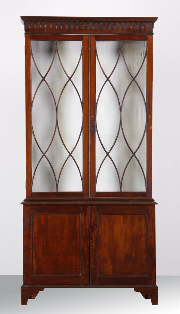 Late 18th c. Regency style mahogany bookcase