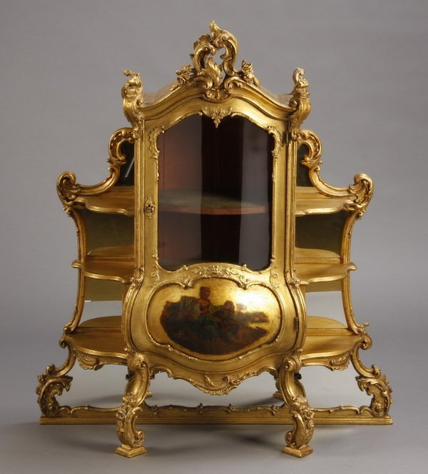 """19th c. carved gilt wood tabletop curio, 50""""h"""