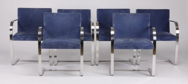 (6) BRNO stainless steel armchairs by Knoll