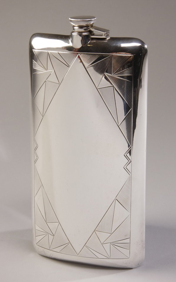 Sterling silver engraved Art Deco flask