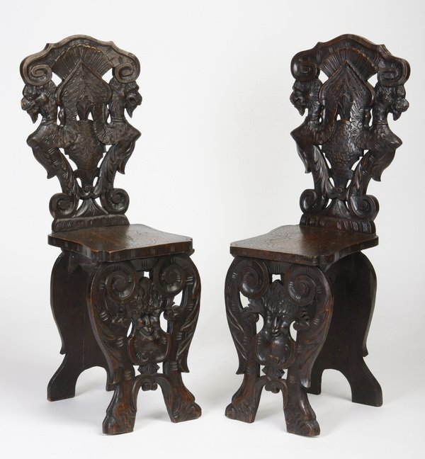 (2) 19th c. carved Italian hall chairs