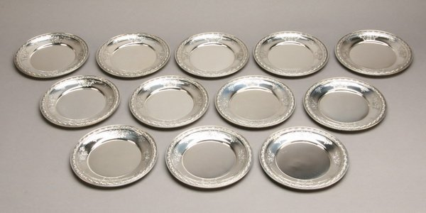 (12) 20th c. sterling plates, marked Gorham