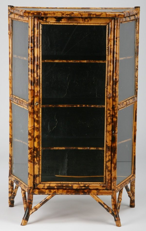 Early 20th c. English bamboo curio cabinet