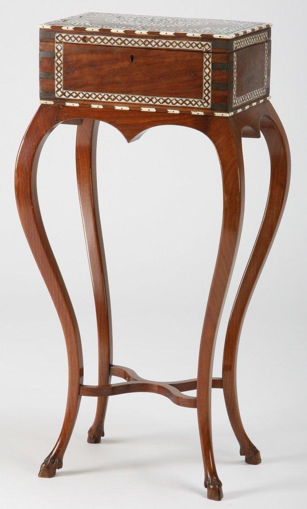 Ivory inlaid jewelry casket on stand