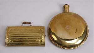 20th c. brass foot warmer & hot water bottle