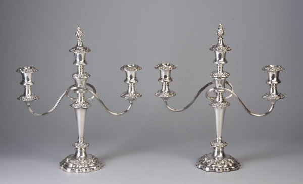 (2) English 20th c. silver plate candelabras