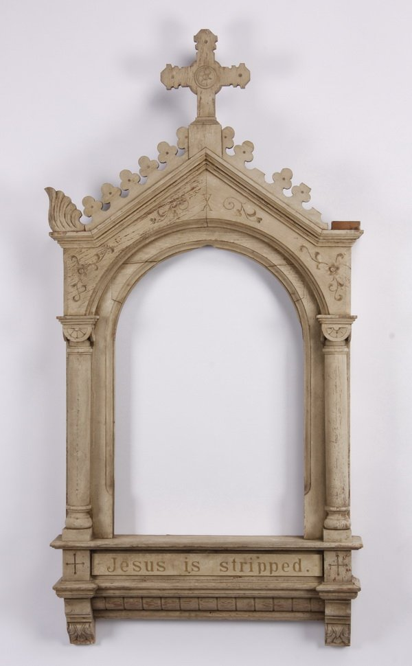Carved and painted oak frame