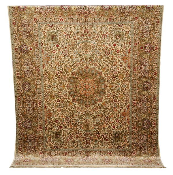 "Hand knotted silk rug, 10' 6""l"