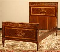 Italian marquetry inlaid mahogany single bed