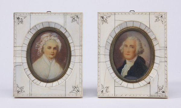 (2) Miniature portraits on ivory, signed