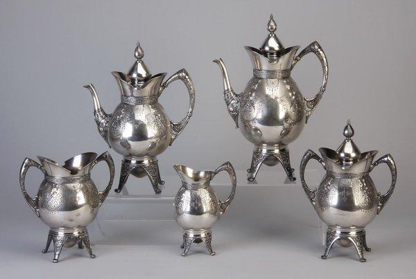 5-piece 19th c. silver plate coffee & tea set
