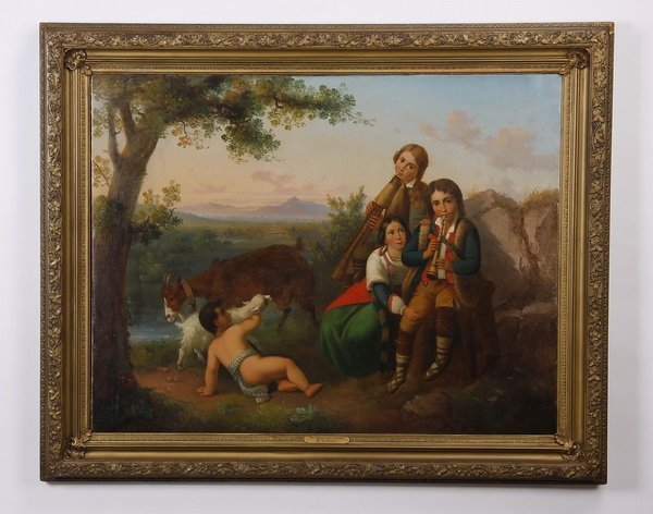 """19th c. Italian oil on canvas, signed, 47""""w"""