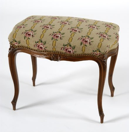 French Provincial needlepoint stool