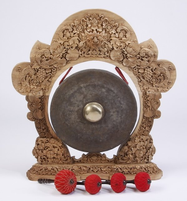 """Indonesian carved wood gong, 43.5""""h"""
