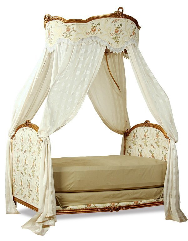 19th c. French gilt wood daybed with canopy