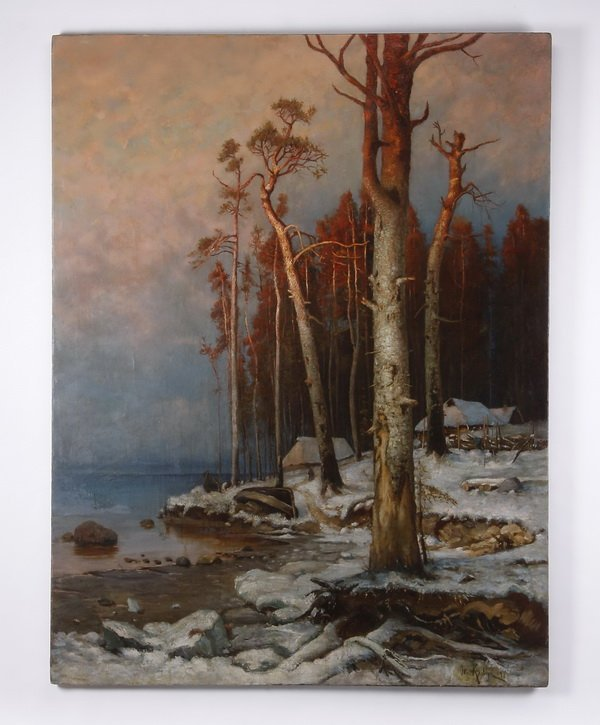 19th c. Russian oil on canvas, signed