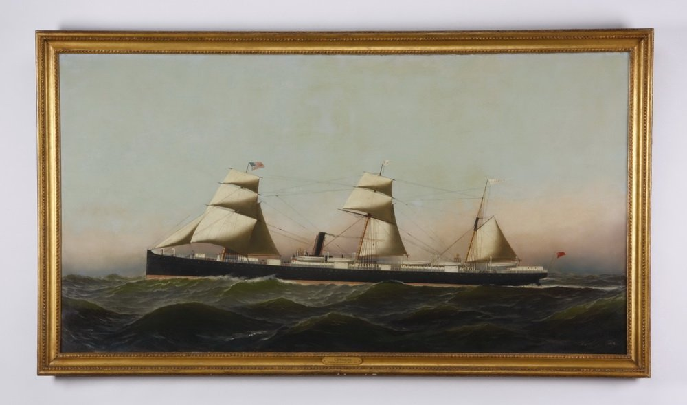 Monumental ship's painting, signed Jacobsen