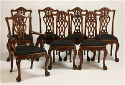 14 20th c mahogany Chippendale chairs