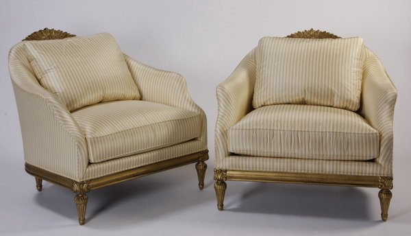 (2) Oversized carved gilt wood tub chairs
