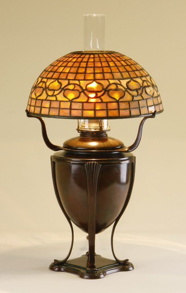 "Tiffany Studios ""acorn"" lamp, marked"