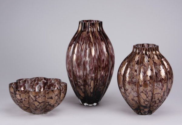 (3) Art glass vessels