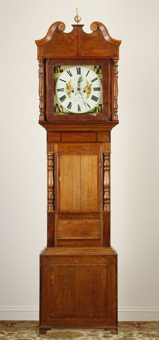 19th c. American oak grandfather clock
