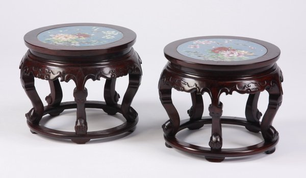 (2) Carved Chinese stools with cloisonne' top