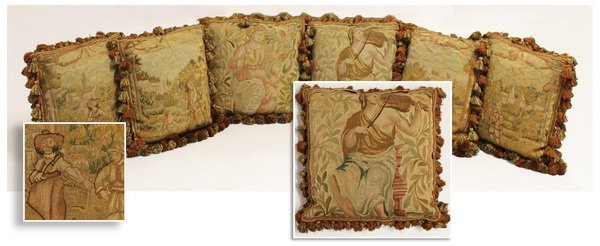 (6) 19th c. Aubusson tapestry pillows
