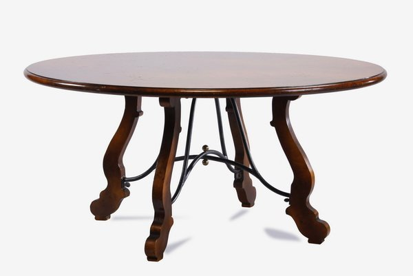 """64""""w table with iron stretcher base"""